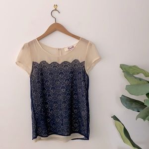 3/$20 Emmelee Short Sleeves Lace Top Size S